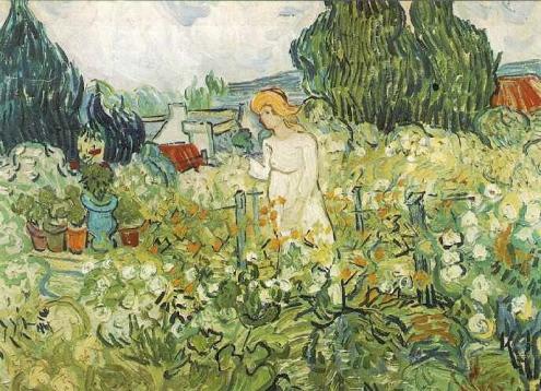 Η Μαργκερίτ στον κήπο του σπιτιού της