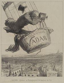 «Ο Ναντάρ ανυψώνει τη φωτογραφία στο ύψος της Τέχνης»: γελοιογραφία-λιθογραφία του Ονορέ Ντωμιέ, Le Boulevard, 25/5/1863.